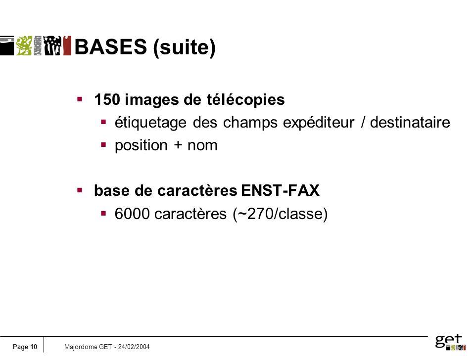 Page 10Majordome GET - 24/02/2004 BASES (suite) 150 images de télécopies étiquetage des champs expéditeur / destinataire position + nom base de caract
