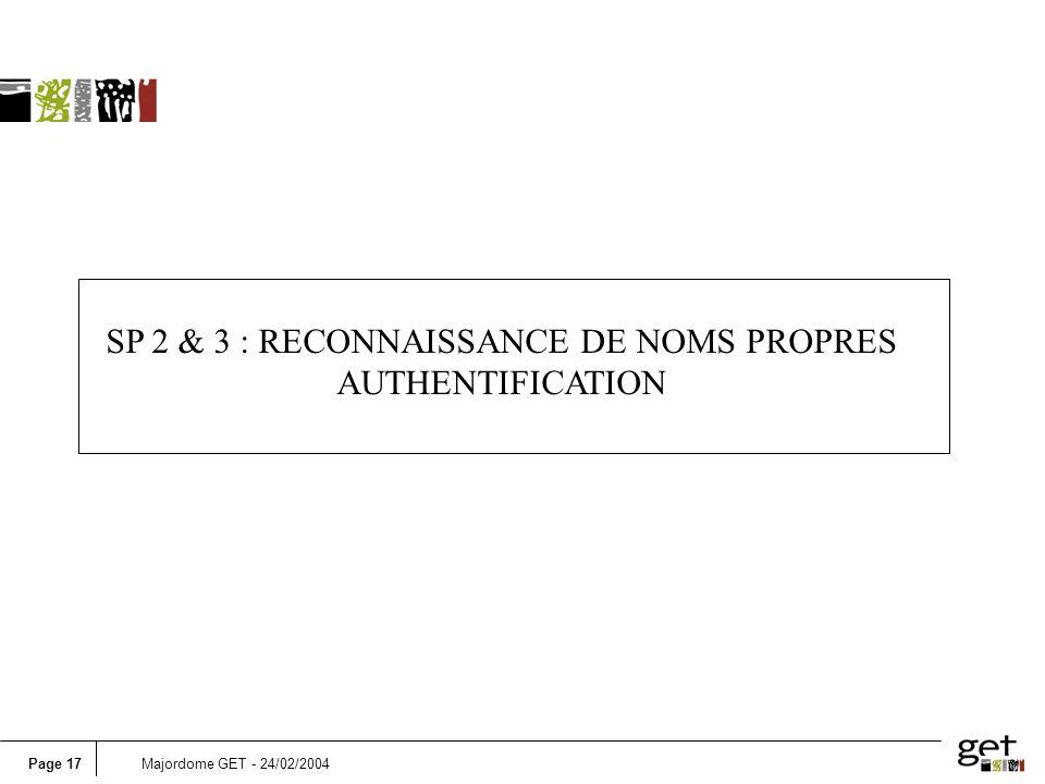 Page 17Majordome GET - 24/02/2004 SP 2 & 3 : RECONNAISSANCE DE NOMS PROPRES AUTHENTIFICATION