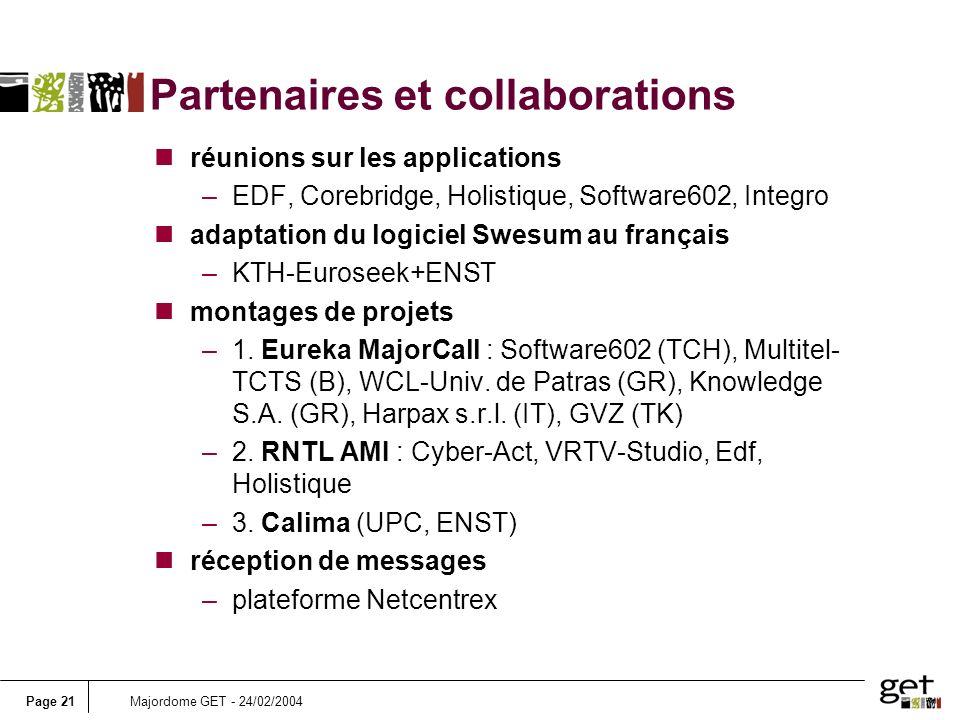 Page 21Majordome GET - 24/02/2004 Partenaires et collaborations nréunions sur les applications –EDF, Corebridge, Holistique, Software602, Integro nada