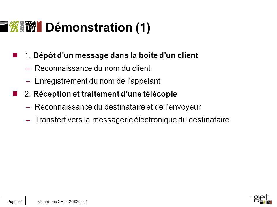 Page 22Majordome GET - 24/02/2004 n 1. Dépôt d'un message dans la boite d'un client –Reconnaissance du nom du client –Enregistrement du nom de l'appel