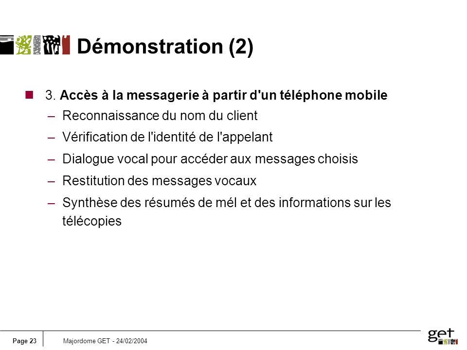 Page 23Majordome GET - 24/02/2004 n 3. Accès à la messagerie à partir d'un téléphone mobile –Reconnaissance du nom du client –Vérification de l'identi