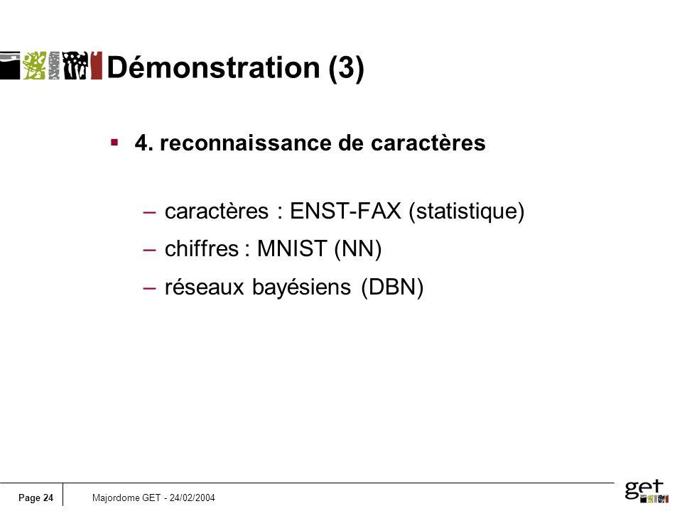 Page 24Majordome GET - 24/02/2004 Démonstration (3) 4. reconnaissance de caractères –caractères : ENST-FAX (statistique) –chiffres : MNIST (NN) –résea