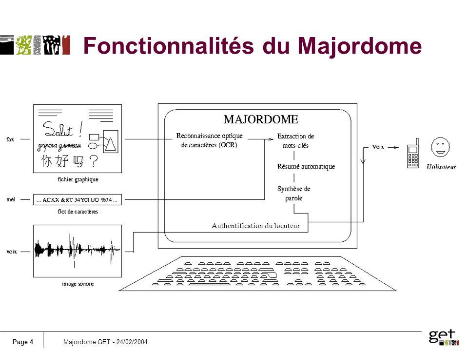Page 4Majordome GET - 24/02/2004 Authentification du locuteur Fonctionnalités du Majordome