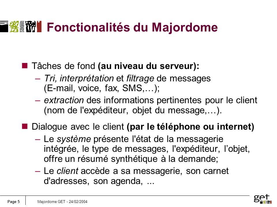 Page 5Majordome GET - 24/02/2004 Fonctionalités du Majordome nTâches de fond (au niveau du serveur): –Tri, interprétation et filtrage de messages (E-m