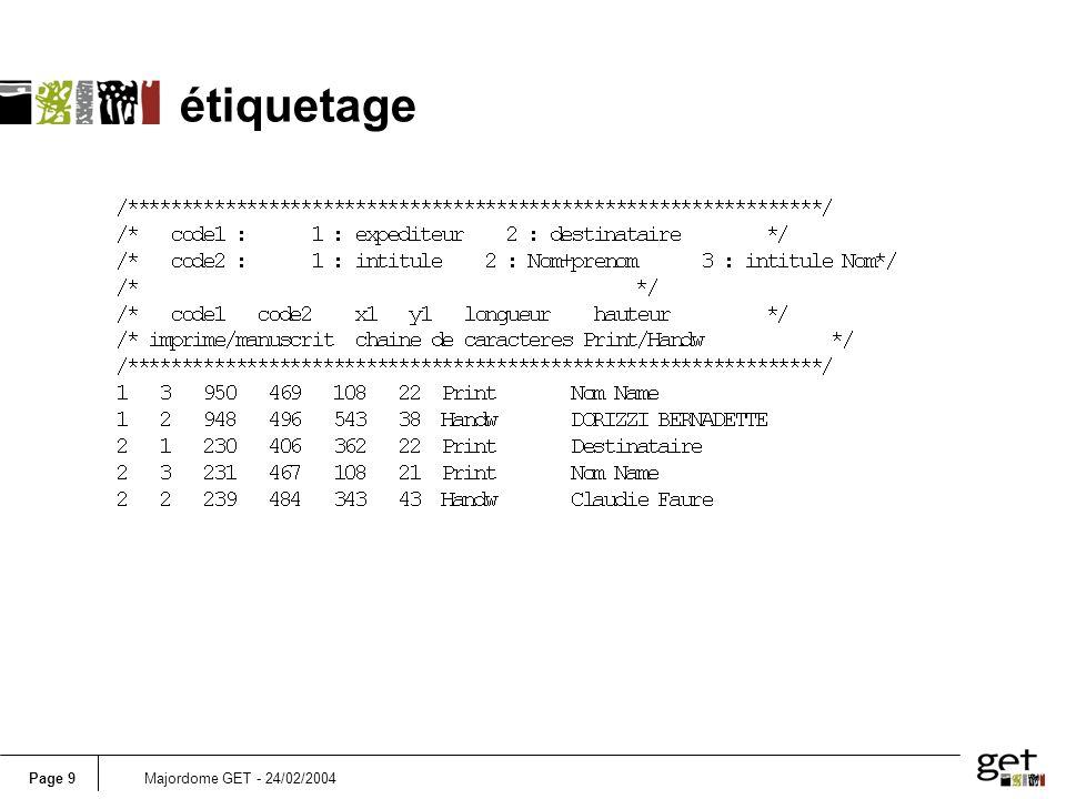 Page 9Majordome GET - 24/02/2004 étiquetage