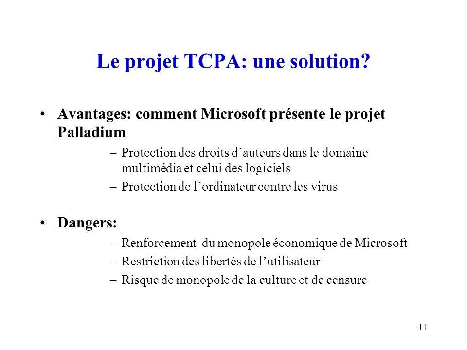 11 Le projet TCPA: une solution? Avantages: comment Microsoft présente le projet Palladium –Protection des droits dauteurs dans le domaine multimédia