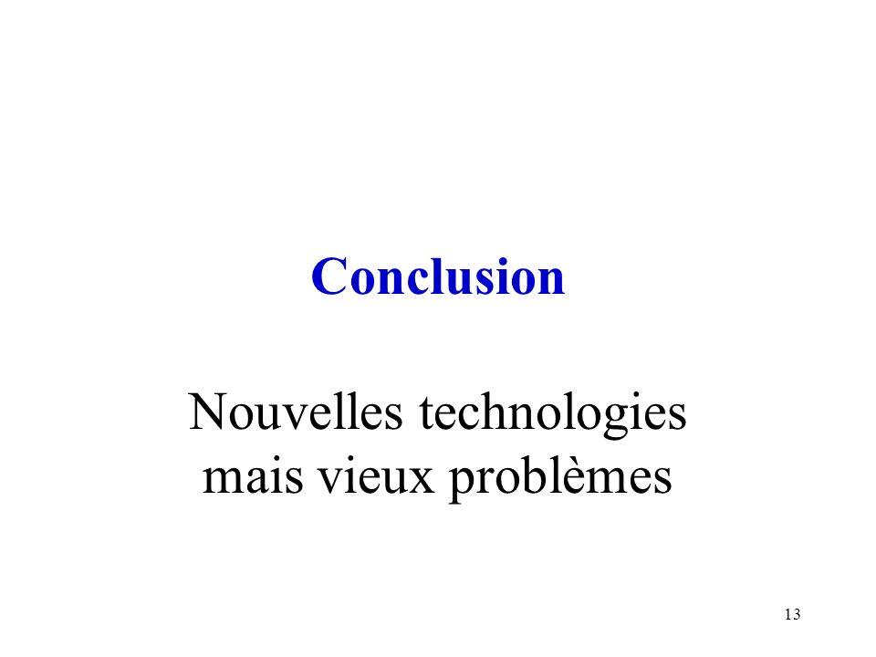 13 Conclusion Nouvelles technologies mais vieux problèmes