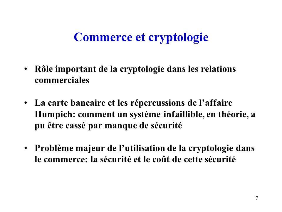 7 Commerce et cryptologie Rôle important de la cryptologie dans les relations commerciales La carte bancaire et les répercussions de laffaire Humpich: