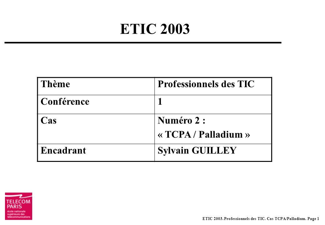 ETIC 2003. Professionnels des TIC. Cas TCPA/Palladium.