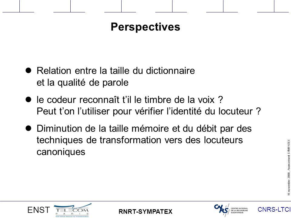CNRS-LTCI 16 novembre 2000, Avancement SYMPATEX ENST RNRT-SYMPATEX Perspectives Relation entre la taille du dictionnaire et la qualité de parole le codeur reconnaît til le timbre de la voix .