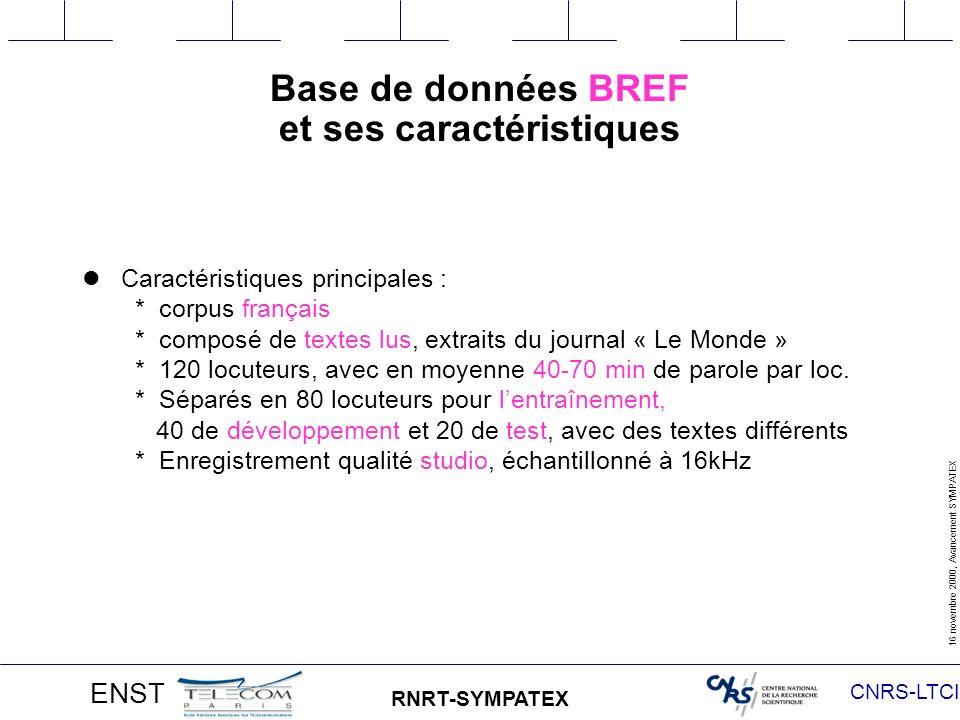 CNRS-LTCI 16 novembre 2000, Avancement SYMPATEX ENST RNRT-SYMPATEX Protocole expérimental Cas indépendant du locuteur : - 33 locuteurs masculins pour lentraînement (env.