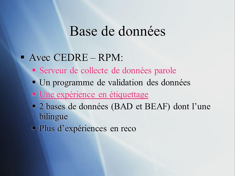 Base de données Avec CEDRE – RPM: Serveur de collecte de données parole Un programme de validation des données Une expérience en étiquettage 2 bases d