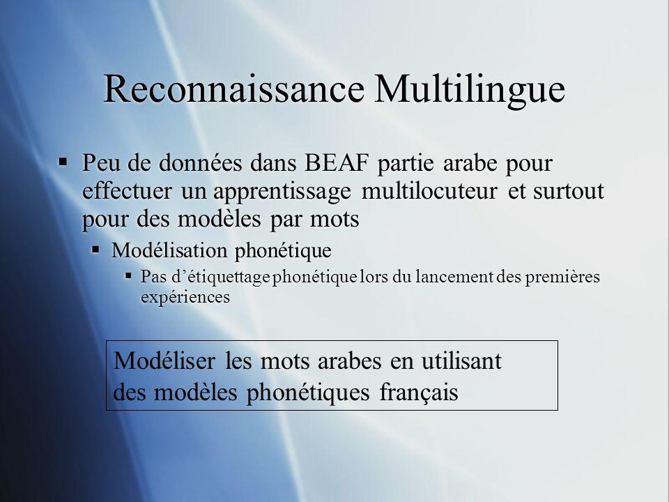 Peu de données dans BEAF partie arabe pour effectuer un apprentissage multilocuteur et surtout pour des modèles par mots Modélisation phonétique Pas d