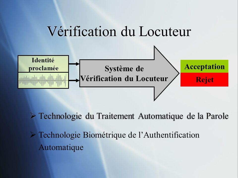 Vérification du Locuteur Identité proclamée Système de Vérification du Locuteur Acceptation Rejet Technologie du Traitement Automatique de la Parole T
