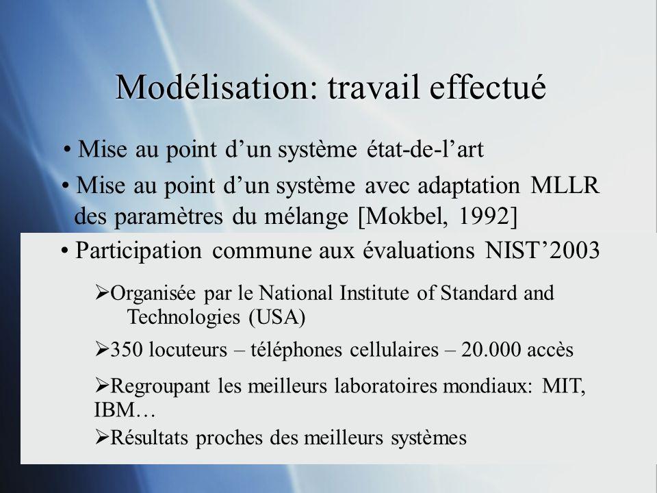 Modélisation: travail effectué Mise au point dun système état-de-lart Mise au point dun système avec adaptation MLLR des paramètres du mélange [Mokbel