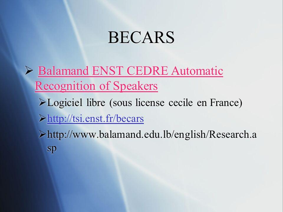 BECARS Balamand ENST CEDRE Automatic Recognition of Speakers Logiciel libre (sous license cecile en France) http://tsi.enst.fr/becars http://www.balam