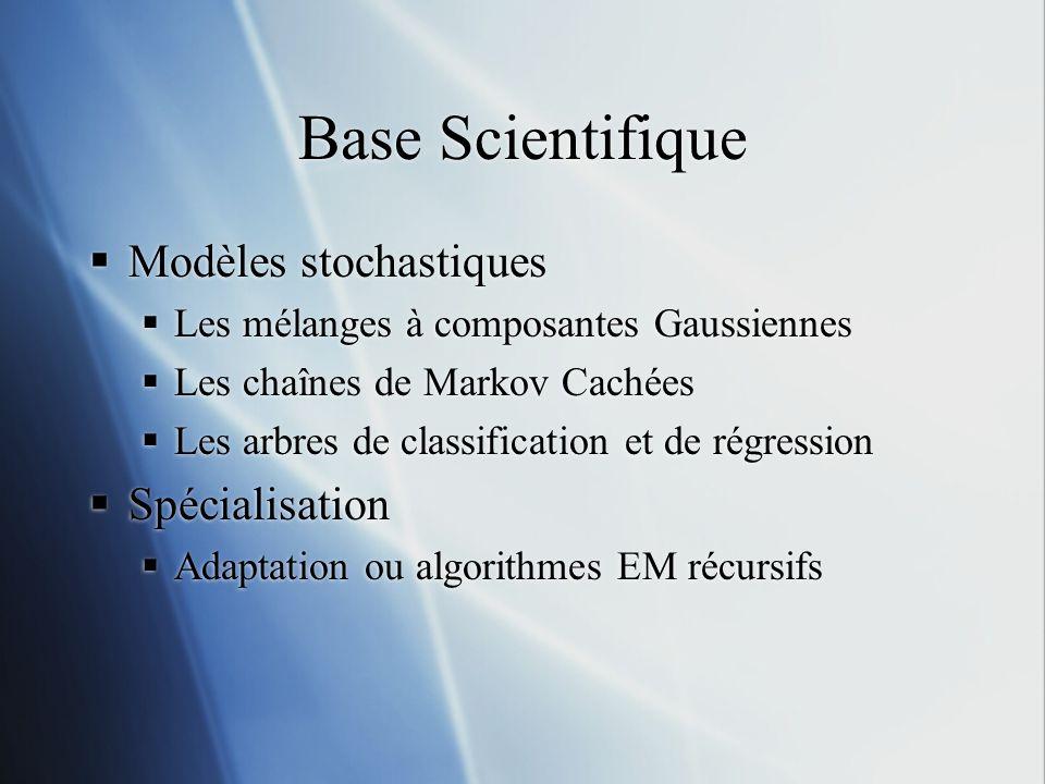 Base Scientifique Modèles stochastiques Les mélanges à composantes Gaussiennes Les chaînes de Markov Cachées Les arbres de classification et de régres