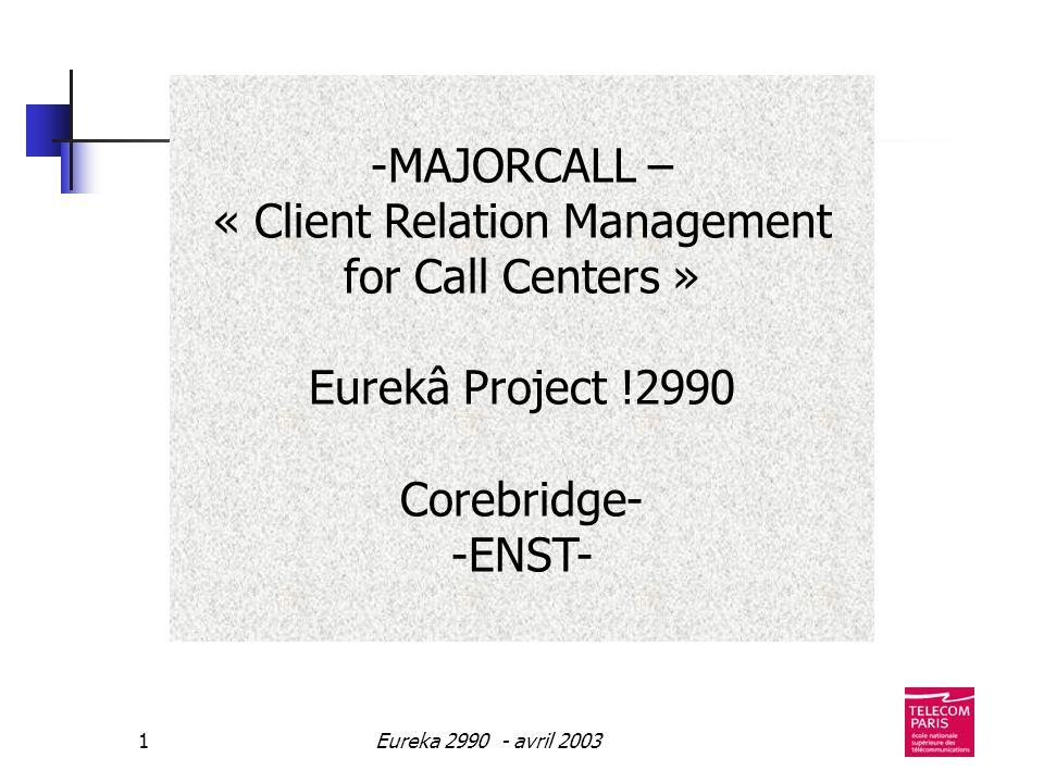 Eureka 2990 - avril 20032 OBJECTIFS GESTION DE LA RELATION CLIENT INDEXATION DU CONTENU REPERER AUTOMATIQUEMENT LES INFOS CLIENT DONNEES VOCALES, TEXTUELLES