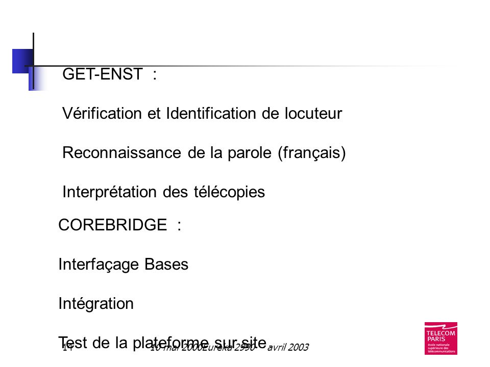 10 mai 2000Eureka 2990 - avril 200314 GET-ENST : Vérification et Identification de locuteur Reconnaissance de la parole (français) Interprétation des télécopies COREBRIDGE : Interfaçage Bases Intégration Test de la plateforme sur site