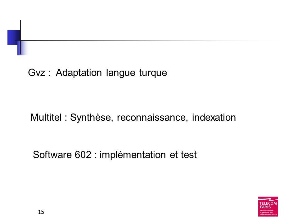 15 Gvz : Adaptation langue turque Multitel : Synthèse, reconnaissance, indexation Software 602 : implémentation et test