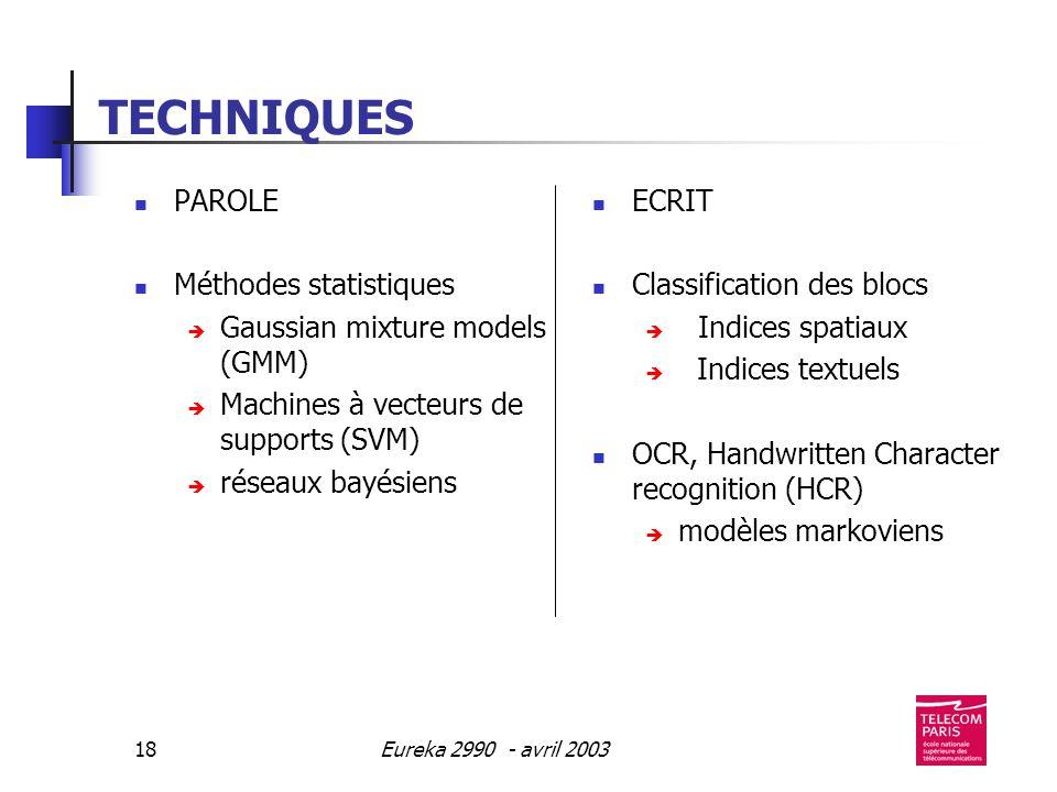 Eureka 2990 - avril 200318 TECHNIQUES PAROLE Méthodes statistiques Gaussian mixture models (GMM) Machines à vecteurs de supports (SVM) réseaux bayésiens ECRIT Classification des blocs Indices spatiaux Indices textuels OCR, Handwritten Character recognition (HCR) modèles markoviens