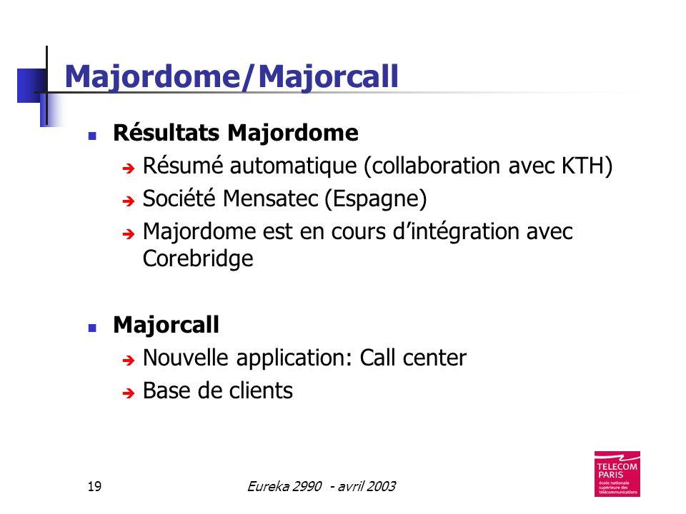 Eureka 2990 - avril 200319 Majordome/Majorcall Résultats Majordome Résumé automatique (collaboration avec KTH) Société Mensatec (Espagne) Majordome est en cours dintégration avec Corebridge Majorcall Nouvelle application: Call center Base de clients