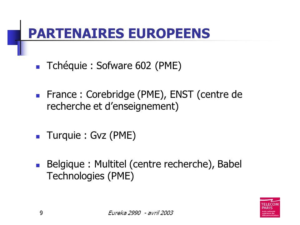Eureka 2990 - avril 20039 PARTENAIRES EUROPEENS Tchéquie : Sofware 602 (PME) France : Corebridge (PME), ENST (centre de recherche et denseignement) Turquie : Gvz (PME) Belgique : Multitel (centre recherche), Babel Technologies (PME)