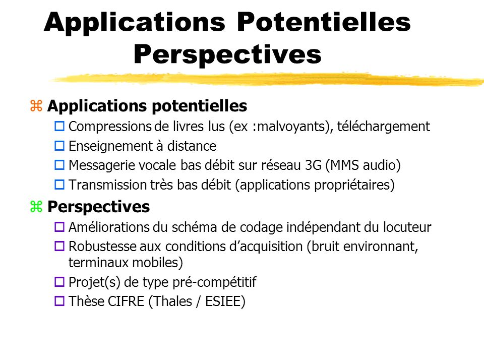 Applications Potentielles Perspectives zApplications potentielles oCompressions de livres lus (ex :malvoyants), téléchargement oEnseignement à distanc