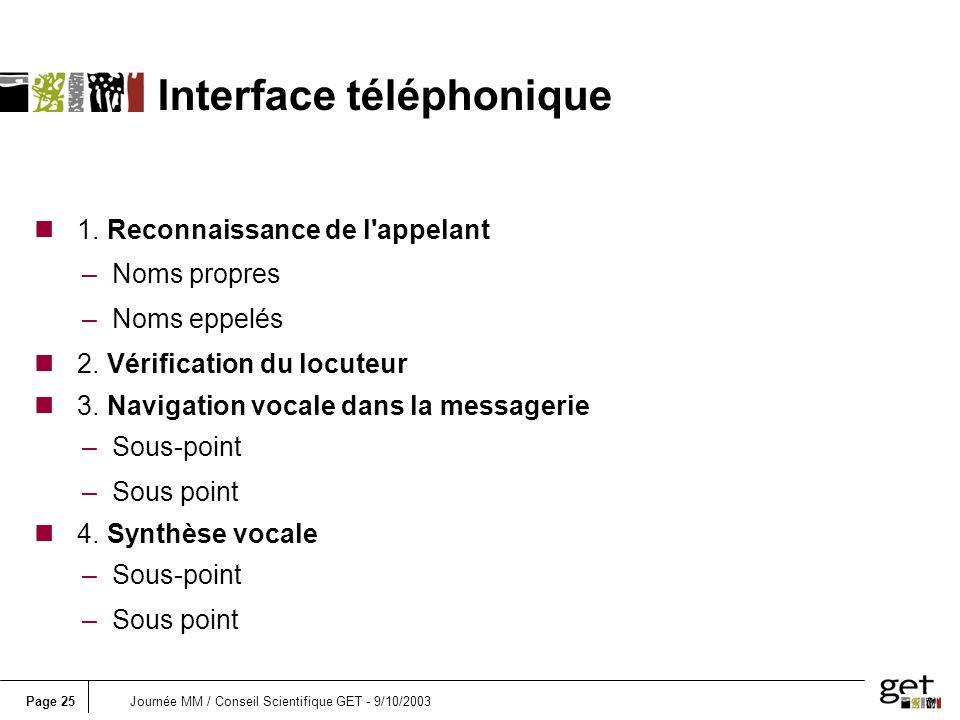 Page 25Journée MM / Conseil Scientifique GET - 9/10/2003 n 1.