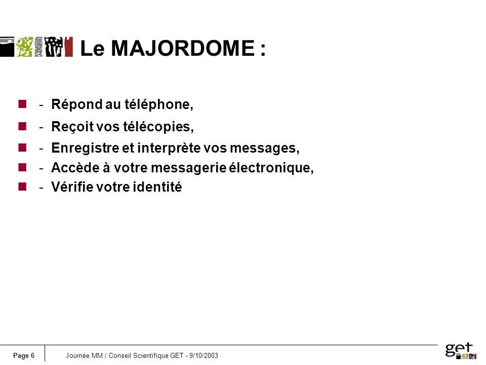 Page 27Journée MM / Conseil Scientifique GET - 9/10/2003 n 1.