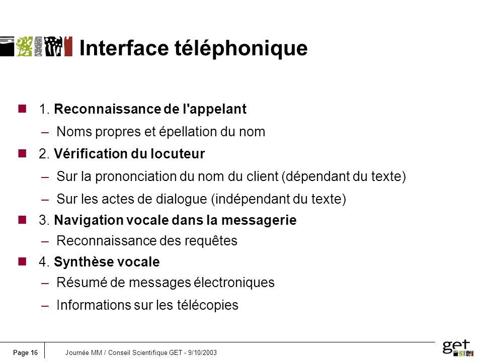 Page 16Journée MM / Conseil Scientifique GET - 9/10/2003 n 1.