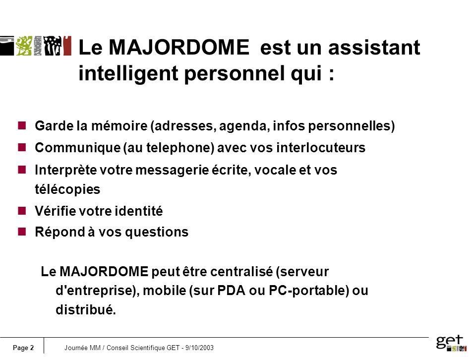 Page 3Journée MM / Conseil Scientifique GET - 9/10/2003 Les fonctionnalités du Majordome Speaker verification Dialogue Routing Updating the agenda Automatic summary Voice Fax E-mail