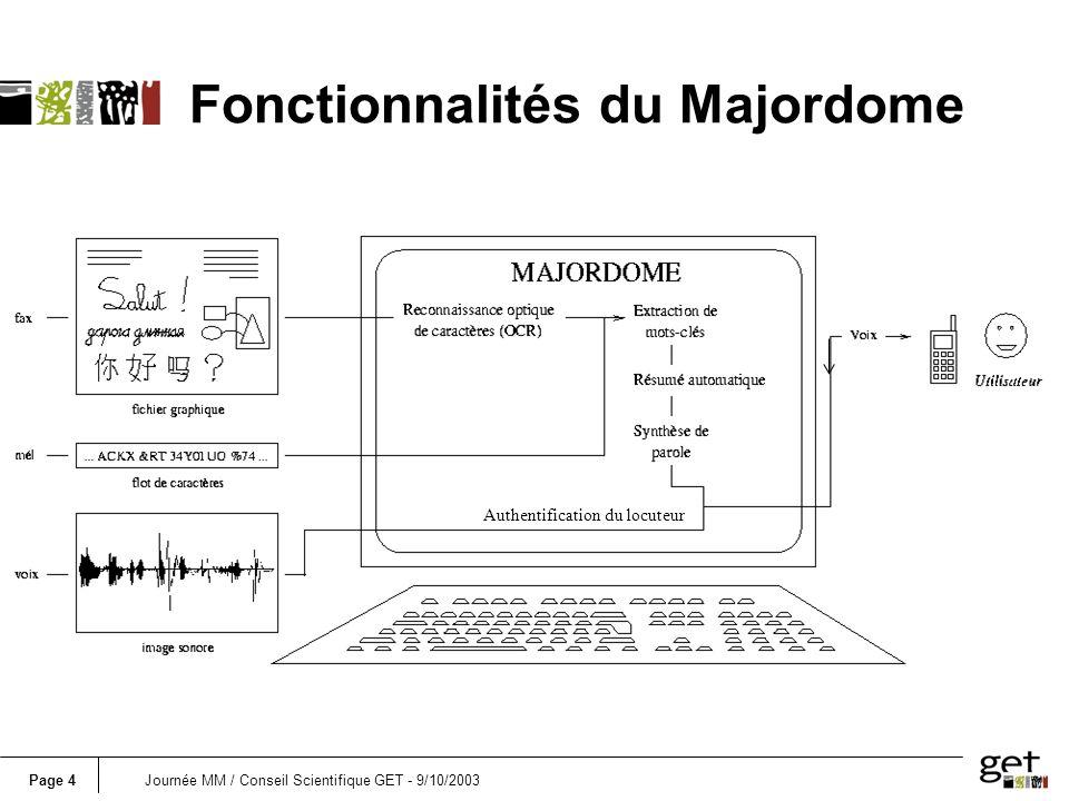 Page 4Journée MM / Conseil Scientifique GET - 9/10/2003 Authentification du locuteur Fonctionnalités du Majordome