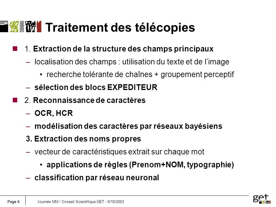 Page 7Journée MM / Conseil Scientifique GET - 9/10/2003 traitement des télécopies (suite) HEADER DETECTION COMBINATION OCR RECOGNITION PROPER NAME DETECTION SENDER NAME BLOCK LOCATION HYPOTHESIZED HEADERS BLOCKS EXTRACTION WRITING DISCRIMINATION PSEUDO WORDS TEXT STRINGS TEXTUAL FEATURES IMAGE FEATURES