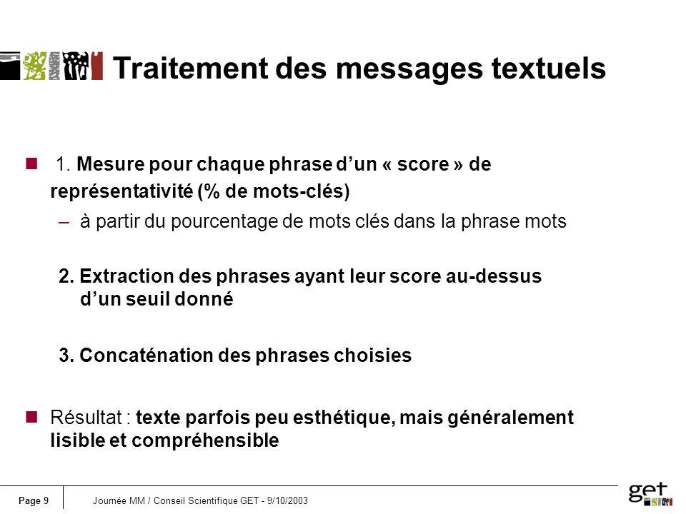 Page 20Journée MM / Conseil Scientifique GET - 9/10/2003 n 1.