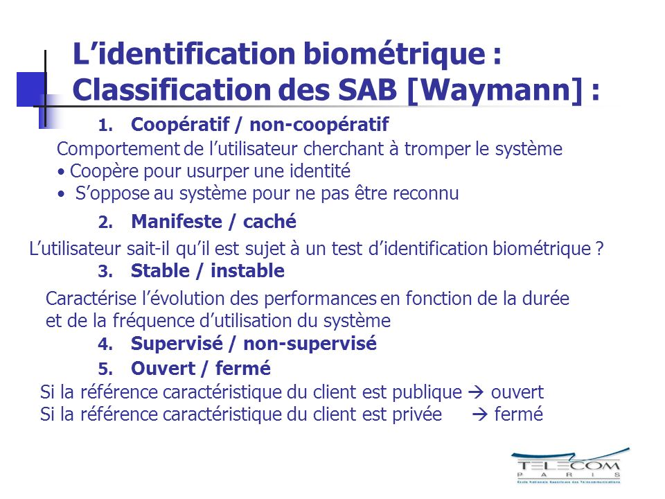 Lidentification biométrique : Classification des SAB [Waymann] : 1. Coopératif / non-coopératif 2. Manifeste / caché 3. Stable / instable 4. Supervisé