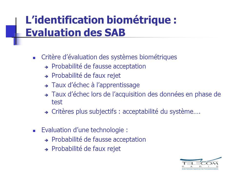 Lidentification biométrique : Evaluation des SAB Critère dévaluation des systèmes biométriques Probabilité de fausse acceptation Probabilité de faux r