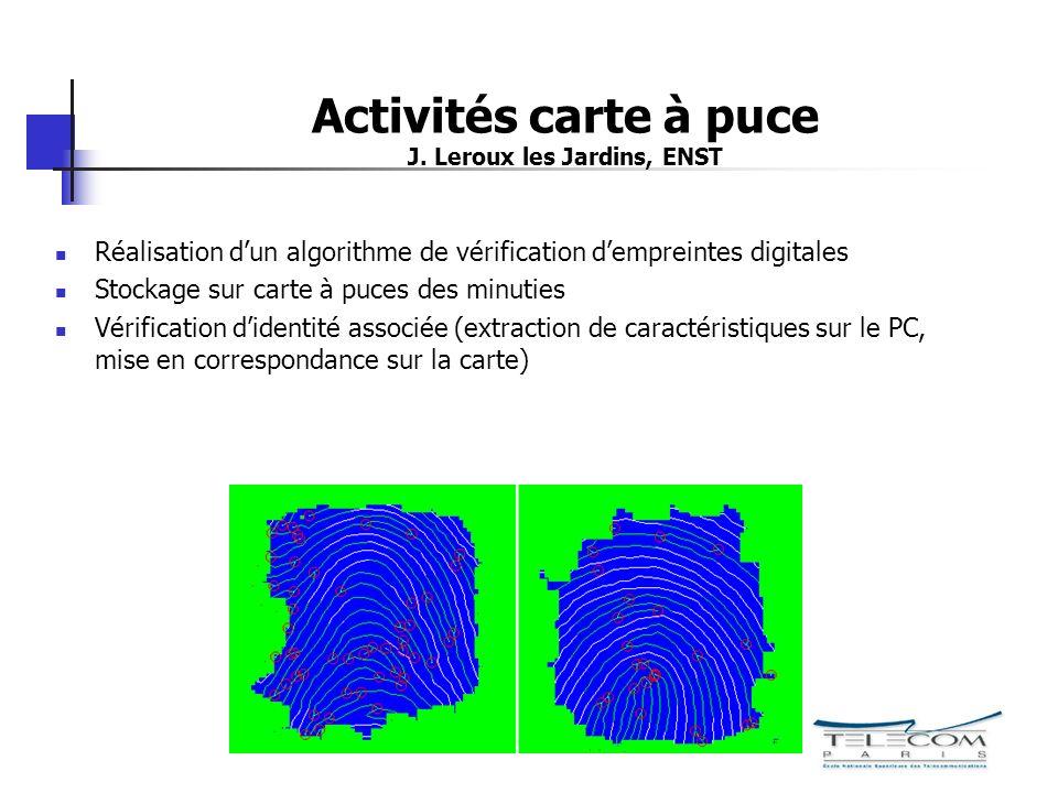 Activités carte à puce J. Leroux les Jardins, ENST Réalisation dun algorithme de vérification dempreintes digitales Stockage sur carte à puces des min