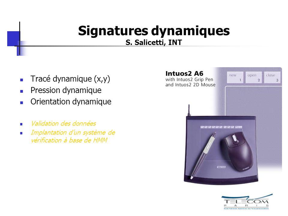 Signatures dynamiques S. Salicetti, INT Tracé dynamique (x,y) Pression dynamique Orientation dynamique Validation des données Implantation dun système