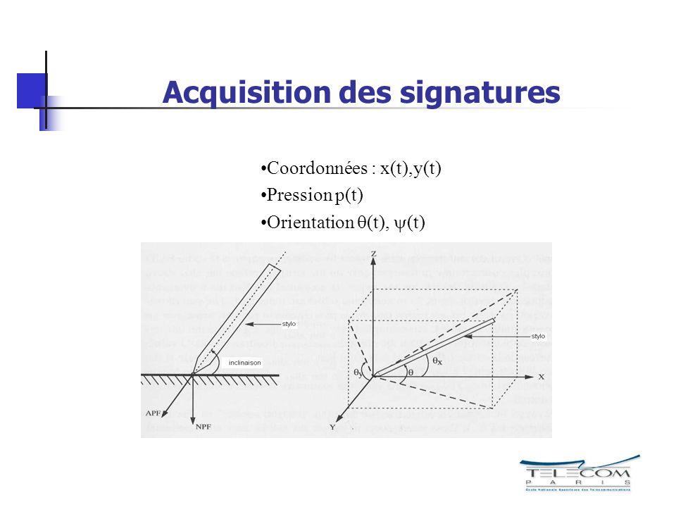 Acquisition des signatures Coordonnées : x(t),y(t) Pression p(t) Orientation (t), (t)