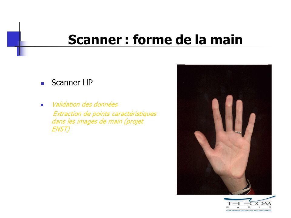 Scanner : forme de la main Scanner HP Validation des données Extraction de points caractéristiques dans les images de main (projet ENST)