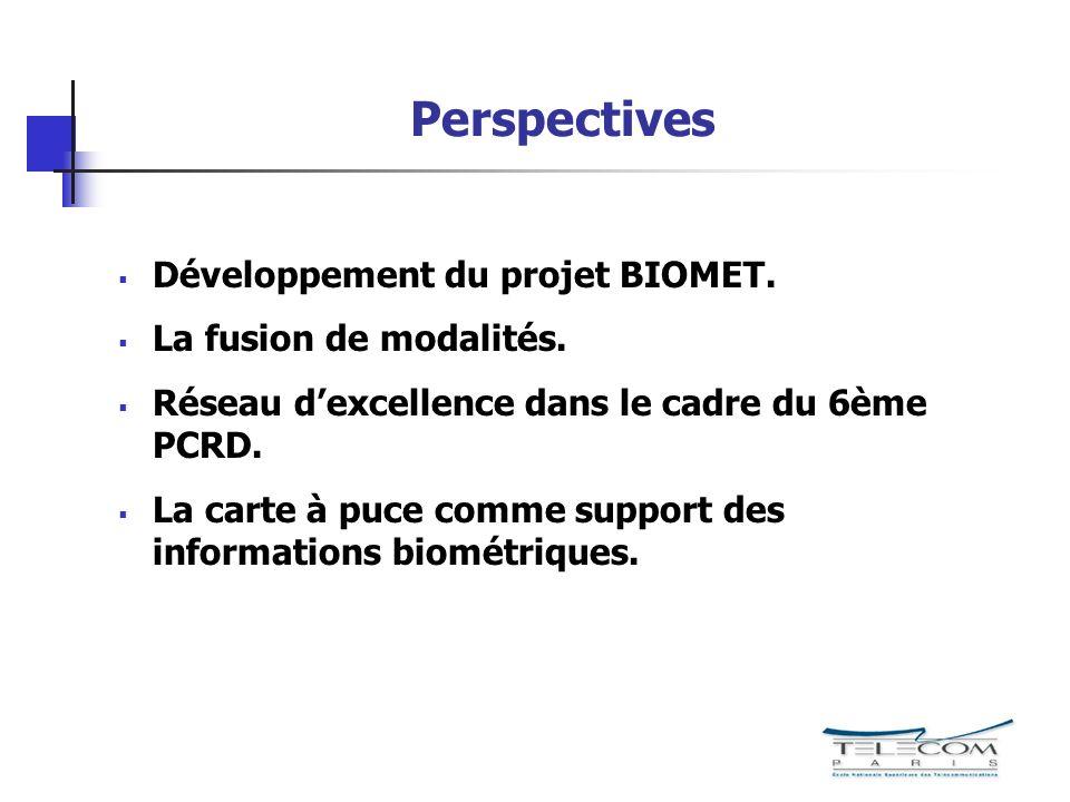Perspectives Développement du projet BIOMET. La fusion de modalités. Réseau dexcellence dans le cadre du 6ème PCRD. La carte à puce comme support des