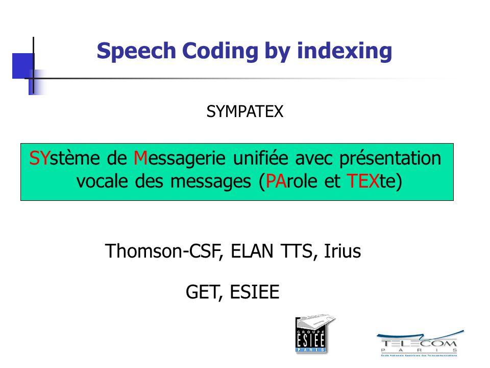 Speech Coding by indexing SYMPATEX SYstème de Messagerie unifiée avec présentation vocale des messages (PArole et TEXte) Thomson-CSF, ELAN TTS, Irius