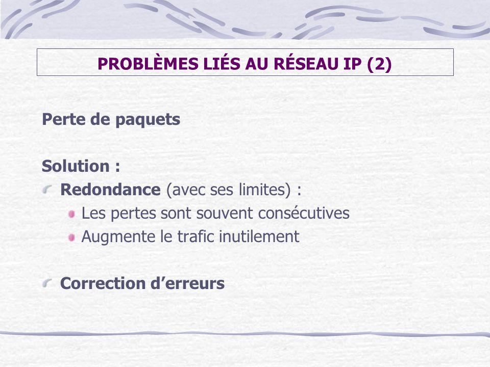 PROBLÈMES LIÉS AU RÉSEAU IP (2) Perte de paquets Solution : Redondance (avec ses limites) : Les pertes sont souvent consécutives Augmente le trafic in