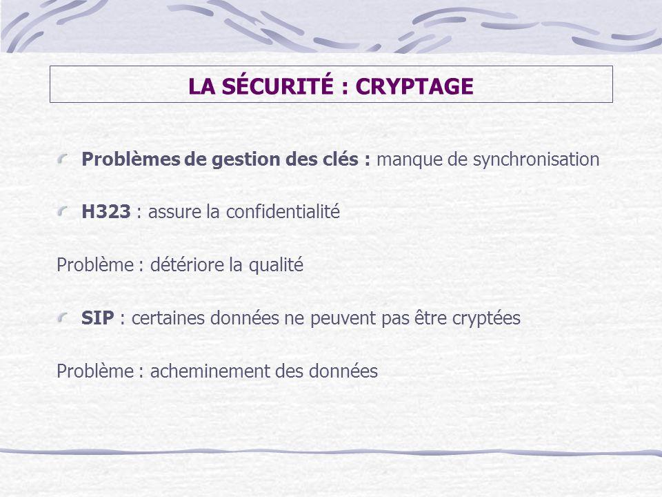 LA SÉCURITÉ : CRYPTAGE Problèmes de gestion des clés : manque de synchronisation H323 : assure la confidentialité Problème : détériore la qualité SIP