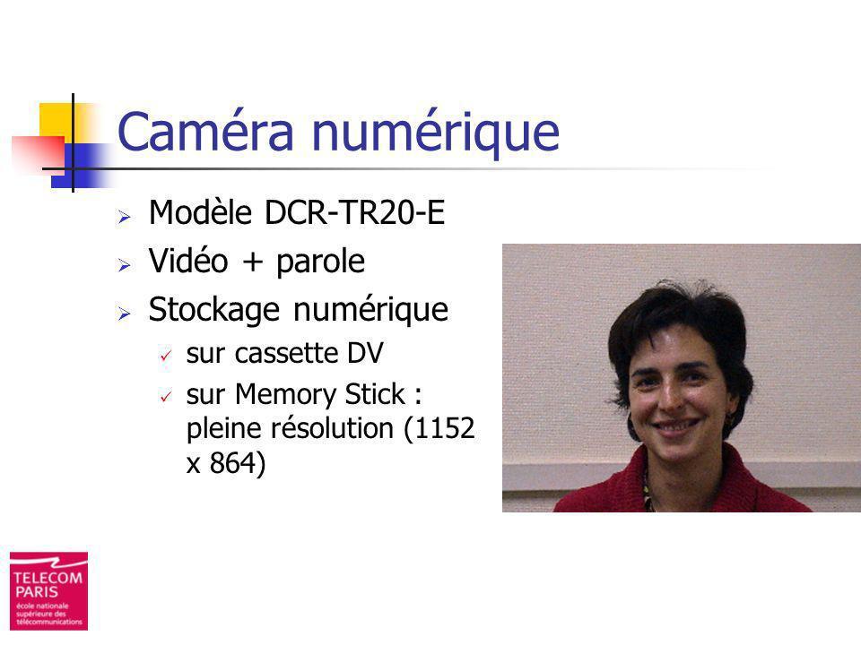 Modèle DCR-TR20-E Vidéo + parole Stockage numérique sur cassette DV sur Memory Stick : pleine résolution (1152 x 864) Caméra numérique
