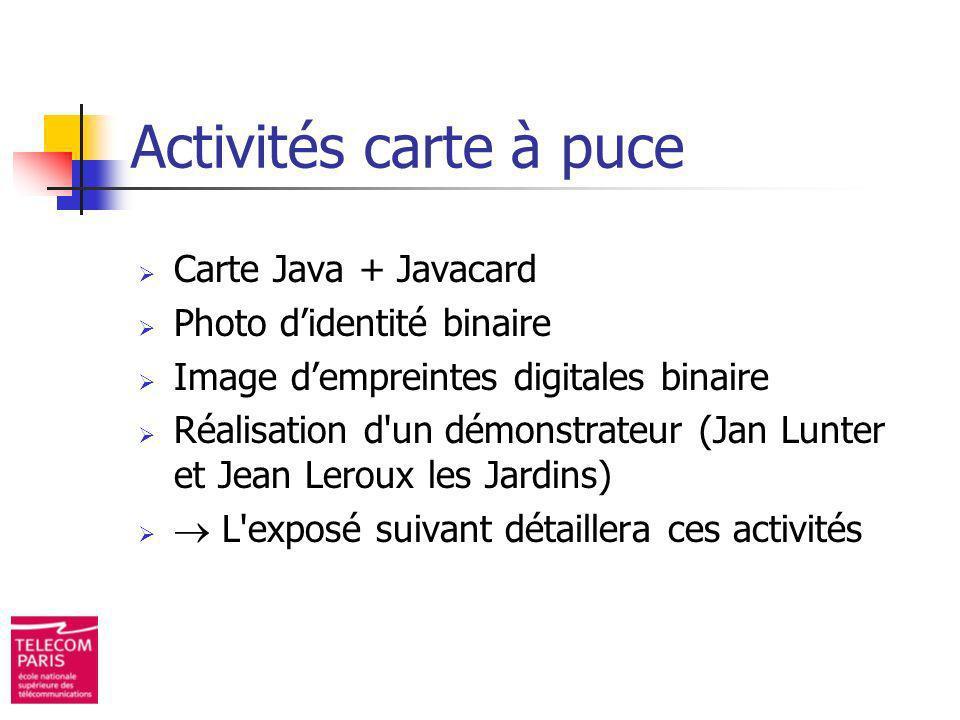 Activités carte à puce Carte Java + Javacard Photo didentité binaire Image dempreintes digitales binaire Réalisation d'un démonstrateur (Jan Lunter et