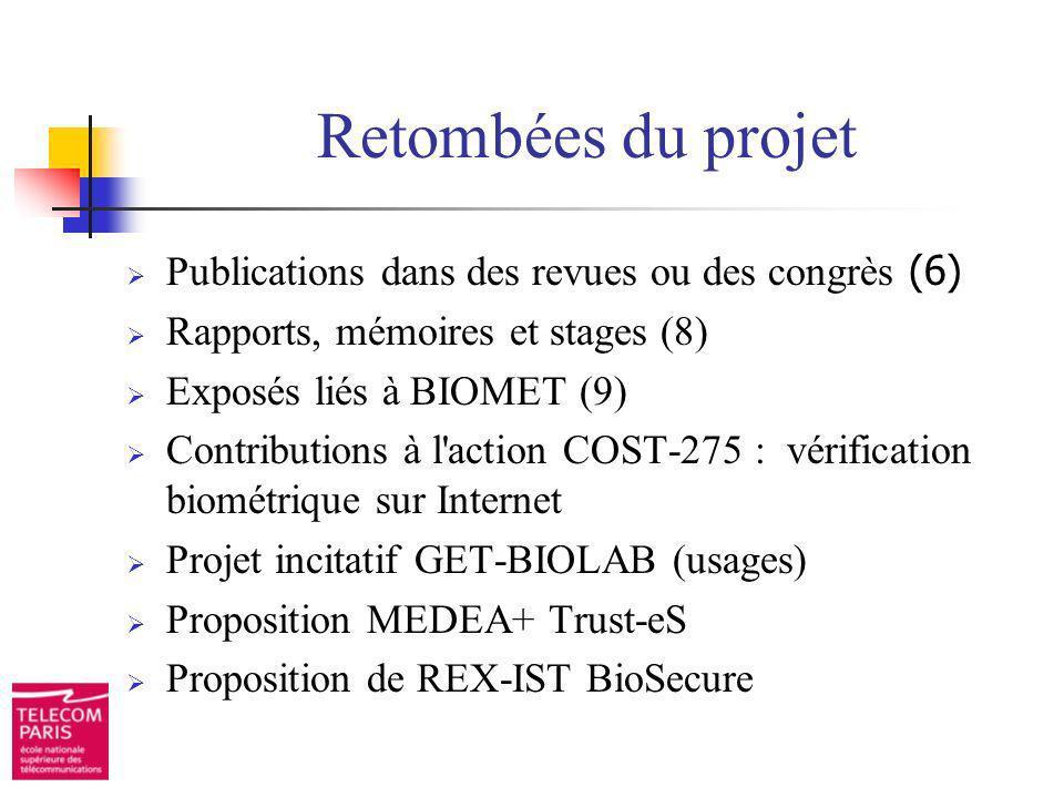 Retombées du projet Publications dans des revues ou des congrès (6) Rapports, mémoires et stages (8) Exposés liés à BIOMET (9) Contributions à l'actio