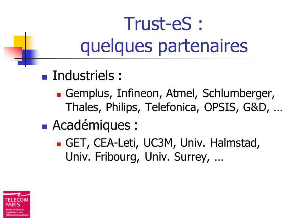 Trust-eS : quelques partenaires Industriels : Gemplus, Infineon, Atmel, Schlumberger, Thales, Philips, Telefonica, OPSIS, G&D, … Académiques : GET, CE