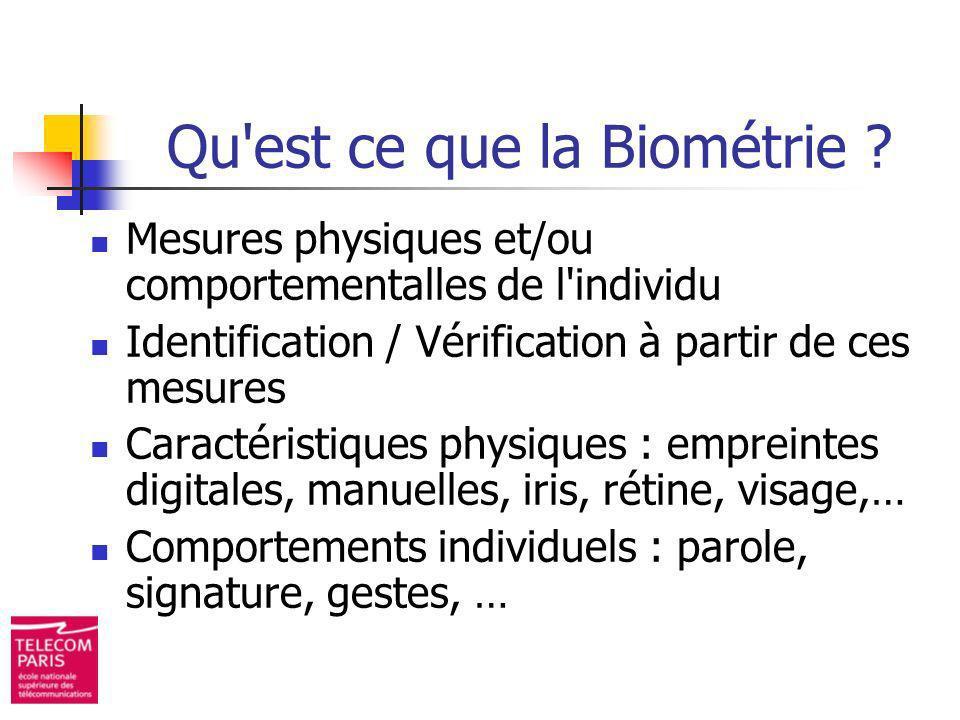 Qu'est ce que la Biométrie ? Mesures physiques et/ou comportementalles de l'individu Identification / Vérification à partir de ces mesures Caractérist